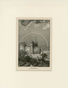 Vintage Moon Rainbow after Storm Print C. 1900 Antique Engraving - Wall Art…