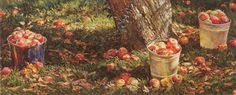 """Limited edition, edition size by David Armstrong created from a watercolor, print size 8 x 20 larger Giclee available size 13 ¾"""" x 34 from an edition size of prints. Harvest Time, Fall Harvest, David Armstrong, Fall Pictures, Autumn Art, Landscape Paintings, Landscapes, Garden Art, Still Life"""