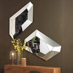 Italian Furniture: Diamond Mirror by Cattelan Italia | italydesign Modern Floor Mirrors, Modern Wall, Italian Furniture, Living Furniture, Ceiling Lights, Luxury, Diamond, Glass, Frame