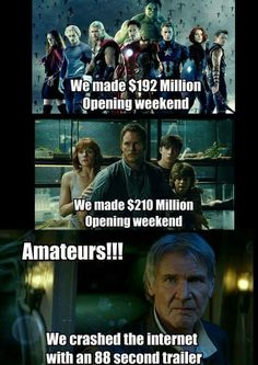 Avengers: We made $192 million opening weekend. Jurassic World: We made $210 million opening weekend. Harrison Ford as… http://ibeebz.com