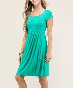 Kelly Green Empire-Waist Dress #zulily #zulilyfinds