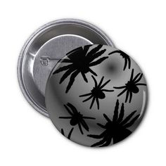 Black Spiders On Color Select Background Pinback Button