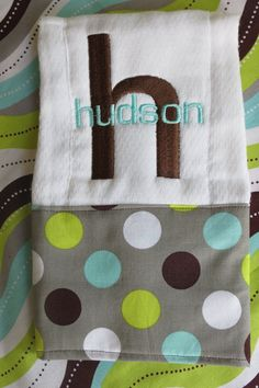 Personalized Burp Cloth.