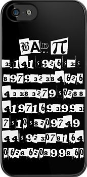 Bad Pi ∏ iphone case  This design features the numerals of Pi written in ripped paper style text. The heading reads Bad ∏ because the last digit is wrong. It should be a 2 (or rounded up to a 3).  A fun geek / nerd design.