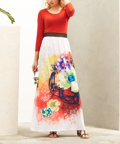 Take a look at this Casa Lee Red & White Floral Maxi Dress today!