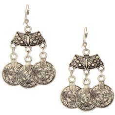 Yoins Silver Coin Chandelier Earrings (5.56 AUD) ❤ liked on Polyvore