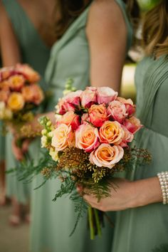 peachy-pink rose bouquet + grayed jade bridesmaid dresses | Spindle Photography #wedding