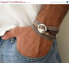 ON SALE 20% OFF Men's Bracelet - Gray Leather Bracelet With Silver Circle Element - Men's Jewelry - Geometric Jewelry - Gift for Him
