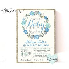 Baby Boy Shower Invitation // Whimsical Floral by AfterFebruary