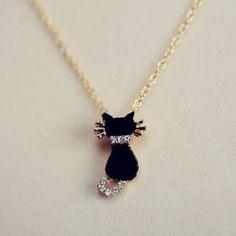 $5.13 Chic Diamante Black Little Cat Pendant Alloy Necklace For Women