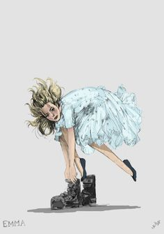 Emma and her boots. Sketch: Colleen Atwood
