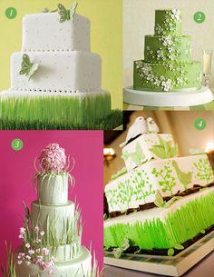 Green/ nature-detail wedding cakes
