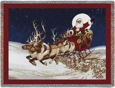 Tapestry Blanket Throw Merry Christmas To All 70 x 54. Santa is flying in his sleigh Christmas Eve far above the city skyline.. Price: $51.99
