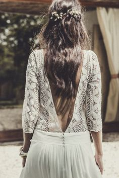 Backless Quarter Sleeve Lace Jersey Wedding Gown Boho Chic Dress Beach Hippie Rustic Vintage Summer Cottage Farm