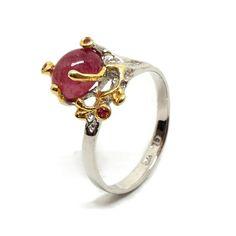 Ring mit Rubin Gemstone Rings, Engagement Rings, Gemstones, Jewellery, Fashion, Sapphire, Silver, Ring, Handarbeit
