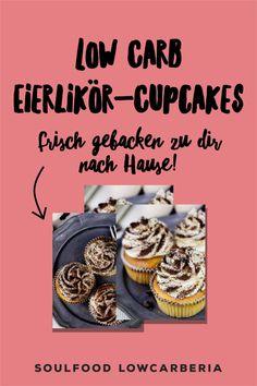 Frische Cupcakes direkt zu dir nach Hause! Hier ist er wieder, unser Saisonspecial: LowCarb Eierlikörcupcake ohne Zucker und ohne Mehl! LowCarb & Keto geeigenet. Es ist ein lockeres Vanilletörtchen getränkt mit Eierlikör und mit einer Eierlikörbuttercreme gekrönt! Im Kühlschrank sind sie 4 Tage haltbar, können aber auch super eingefroren werden. #lowcarbcupcake #cupcakes #eierlikörcupcakes Jetzt bestellen! Low Carb Cupcakes, Low Carb Desserts, Low Carb Restaurants, Low Carb Backen, Lchf, Super, Muffins, Gluten Free Cooking, Sugar Free Recipes