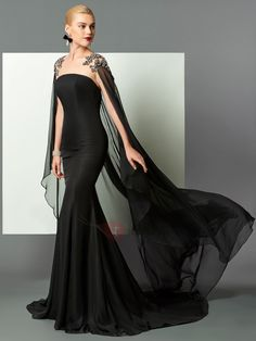 2017 Jewel Neck Black Lace Beaded Chiffon Mermaid Evening Dresses With Wrap Formal Wear Prom Party Dress Formal Special Occasion Gowns Evening Dress Patterns, Designer Evening Dresses, Mermaid Evening Dresses, Evening Gowns, Formal Dress Patterns, Elegant Dresses, Sexy Dresses, Beautiful Dresses, Fashion Dresses