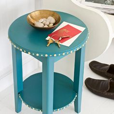 add a little sparkle to a side table with thumbtacks