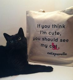 "Catsparella ""If you think I'm cute, you should see my cat"" Tote"