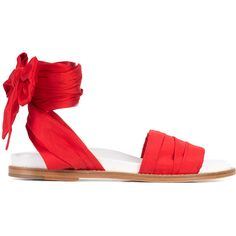 Marques'Almeida Taffeta Fabric Wrap Sandal ($310) ❤ liked on Polyvore featuring shoes, sandals, red, open toe flat shoes, ankle wrap shoes, red flat sandals, flat sandals and flat shoes