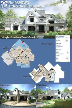 Architectural Designs 5 Bed Exciting Farmhouse Plan has adds a modern flare with angled posts on the porches, giving it a unique curb appeal. This farmhouse has 4 beds and 5 baths. This plan also has side-load garage, a summer kitchen and an The Plan, How To Plan, Garage Interior, Interior Walls, Porch Posts, Farmhouse Flooring, Safe Room, Modern Farmhouse Plans, Farmhouse Design