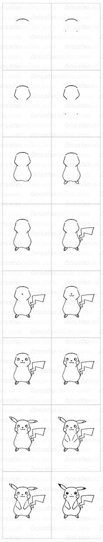 Stap voor stap Pikachu tekenen >> como desenhar Picachu how to draw desenho online