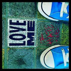 Sidewalk stencil art