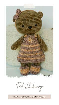 Teddy Bear Knitting Pattern, Baby Knitting Patterns, Hand Knitting, Crochet Patterns, Knitted Slippers, Knitted Dolls, Diy Doll Costume, Teddy Bear Toys, Knitting Supplies