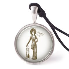 vietguild Hand Drawn French Woman Necklace Pendants Pewter Silver