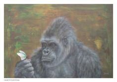 Gorilla painting water colour butterfly print by Paintzstudio