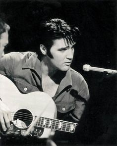Great black and white shot, rehearsal for the 68 Comeback Special, I believe.