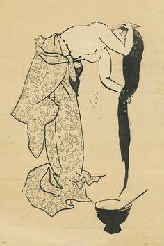 Manjiro Asuga Japanese Woodblock Print 1940s RARE Sosaku Hanga of A Woman