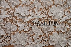 White Venice Lace Fabric, Crochet Brial fabric, vintage Floral fabric, Fashion Dress Fabric Supplies