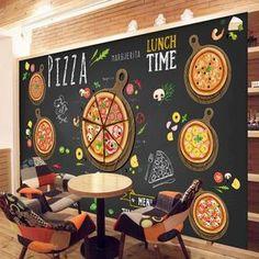 Custom 3D papel tapiz para paredes 3D Pizza Shop Pared Mural Wallpaper Restaurante Food Drink Coffee dinning revestimiento de Pared Decoración de la Habitación