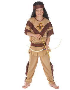 Déguisement indien pour garçon : Ce déguisement d'indien pour garçon se compose d'une tunique à manches courtes avec franges, d'un pantalon élastique à la taille avec franges...