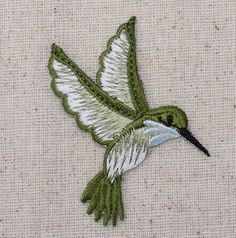 Iron On Embroidered Applique Patch Light Blue Hummingbird Facing Right LARGE