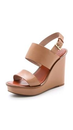 Tory Burch Lexington Wedge Sandals - Natural Blush -black off the shoulder dress, shift with chanel mini in black