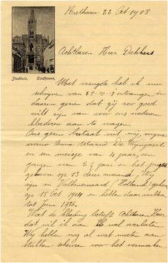 Brief van Belgische vluchteling op postpapier met het Stadhuis van Eindhoven - 1918 Eindhoven, Belgium, Van, History, Photos, Vans, Historia, History Activities