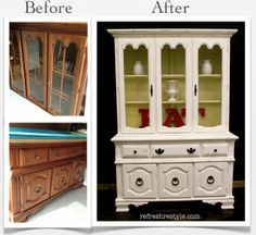 China Hutch Make over {refreshing and light} - Refresh Restyle