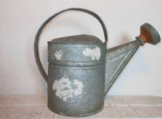 Antique galvanized watering can with by vintagethisretrothat, $30.00
