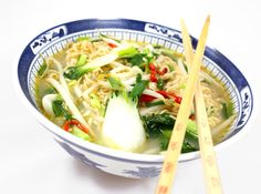 Oppskrift Nudelsuppe Asiatisk Fastfood Pak Choi Bønnespirer Nudler
