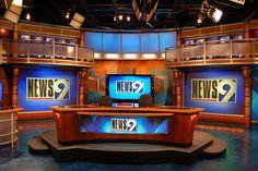 Explore photos of KWTV-TV's TV set design in this interactive gallery of the studio. Tv Set Design, Stage Set Design, Rogers Tv, Virtual Studio, Tv Sets, Tv Decor, Scenic Design, Video Film, Studio Design
