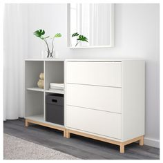 EKET Cabinet combination with legs White/light grey 140 x 35 x 80 cm - IKEA Ikea Shelves, Shelving, Ikea Bedroom, Bedroom Decor, Room Interior, Interior Design Living Room, Ikea Eket, Muebles Living, Affordable Furniture