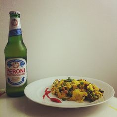 Scrambled eggs and an Italian beer: one memorable brunch.