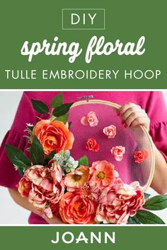 Give your interior home decor a beautiful pop of color with this DIY Spring Floral Tulle Embroidery Hoop from JOANN! The gorgeous flowers on this easy-to-make craft give a natural feel and are sure to brighten any room. Holiday Crafts, Fun Crafts, Diy And Crafts, Yarn Flowers, Spring Activities, Crafty Craft, Crafting, Cool Diy Projects, Floral Centerpieces