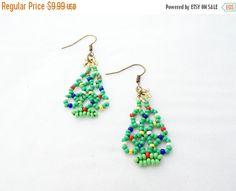 SALE Christmas earrings christmas tree earrings green earrings handmade amazing gift earrings for women Beaded earrings seed beads earings (9.19 USD) by UkrainianBeadJewelry