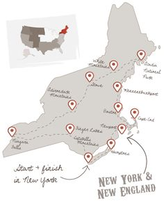 New England Road Trip- add: Providence capital of Rhode Island and take a day ferry to the gorgeous Nantucket or Martha's Vineyard; The Berkshires in the western hills of Stockbridge Massachusetts;