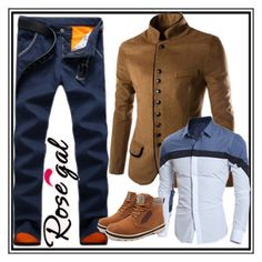 """""""rosegal men 1"""" by imsirovic-813 ❤ liked on Polyvore featuring men's fashion, menswear, shoes, jacket, shirt and pants"""