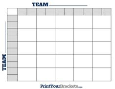 Blank Football Pool Template   Square Football Pool Sheet