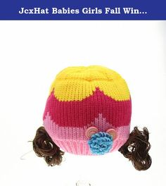 JcxHat Babies Girls Fall Winter Two Wigs Colorful Stripes Floral Beanies Knit Hat Skull Cap. Unisex Hat fits for Baby boys and girls. It is a must-have item in cold winter. Babies, Toddlers and kids would love doing outdoor activities with this durable hat.